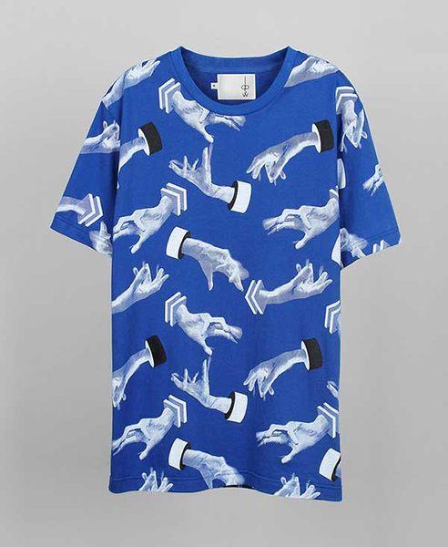 【摩達客】韓國進口EXO合作設計品牌DBSW Hand Drops手掉了藍色 純棉短T短袖T恤時尚潮T(10415098003)
