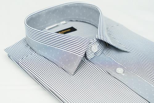 【金‧安德森】灰色變化領窄版短袖襯衫