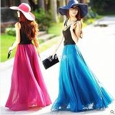 春夏季雙層雪紡半身長裙大擺裙顯瘦飄逸海邊拖地沙灘百褶仙女裙子