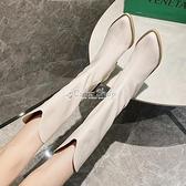 長筒靴女靴子2010夏季白色復古高跟鞋粗跟尖頭長靴高筒西部牛仔靴 快速出貨