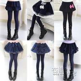 女童打底褲外穿新款秋冬兒童裙褲假兩件加絨加厚大童褲子褲裙 衣櫥秘密