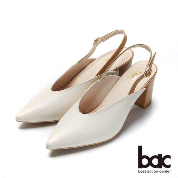 【bac】紐約不夜城 - 復古撞色深口粗跟後空高跟鞋(米色)