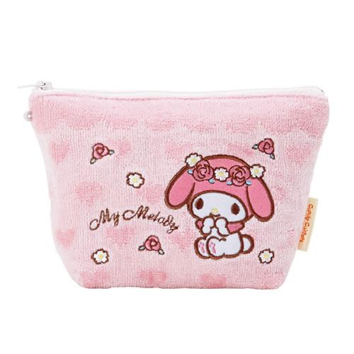 《Sanrio》美樂蒂柔軟毛巾布化妝包(玫瑰花園) 265454