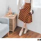 《FA2119》包芯紗厚針織復古點點圓裙 OrangeBear