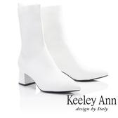 ★2018秋冬★Keeley Ann俐落時尚~素面透氣布粗跟中筒靴(白色) -Ann系列