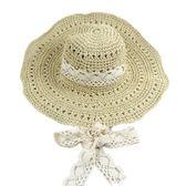 夏季遮陽草帽女蕾絲綁帶太陽帽防風沙灘帽折疊旅行拍照鏤空手工帽【博雅生活館】