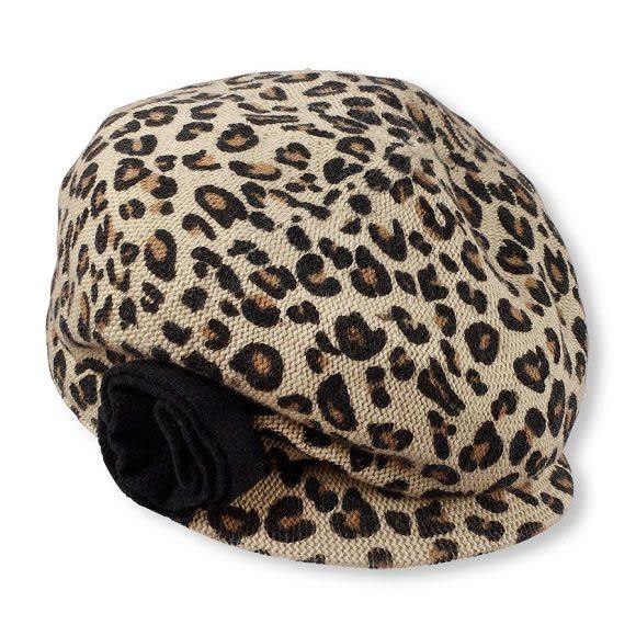 Place帽子  豹紋圖案貝蕾帽