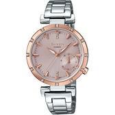 【台南 時代鐘錶 CASIO】SHEEN 宏崑公司貨 SHE-4051SG-4A 蜜桃金水晶元素優雅時尚腕錶