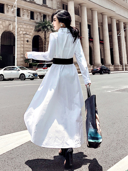 克妹Ke-Mei【ZT57319】2020初春爆款韓版下不規則荷葉大擺襯杉式長洋裝附腰封