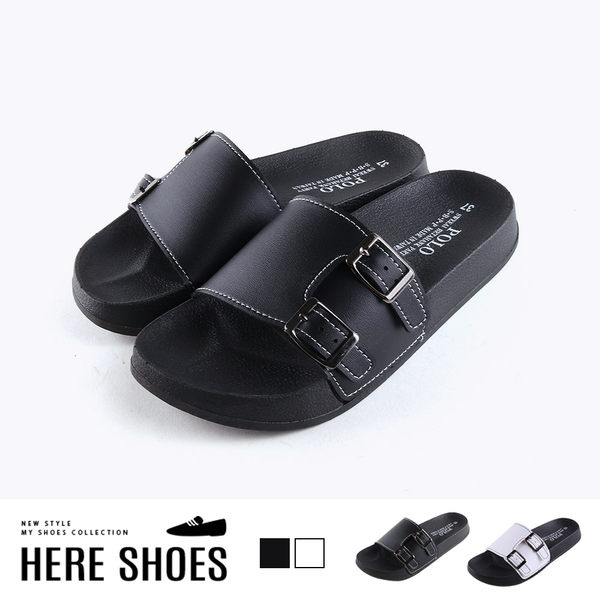 [Here Shoes]涼拖鞋-MIT台灣製 扣環造型 皮質車線鞋面 簡約休閒 一字拖鞋-AB755
