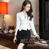職業洋裝開衫韓版性感V領修身不規則短款長袖上衣 半身裙兩件套 米蘭shoe