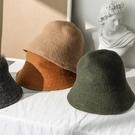 羊毛帽子女秋冬韓版潮百搭漁夫帽冬季復古日系針織毛線盆帽水桶帽