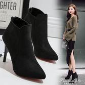 新款黑色絨面高跟鞋細跟尖頭後拉錬潮女鞋子短靴馬丁靴 果果輕時尚