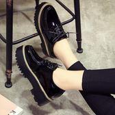 鬆糕鞋 原宿風小皮鞋學生單鞋2018新款英倫風女鞋厚底鬆糕鞋百搭春季  蒂小屋服飾