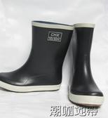 秋冬休閒款釣魚鞋橡膠情侶男女同款中筒平底雨鞋男高爾夫雨靴水鞋