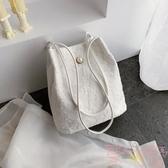 蕾絲手提包購物袋鏤空沙灘包刺繡單肩包包手袋包【聚可愛】