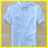 棉麻上衣 男士純亞麻襯衫短袖薄款透氣青年學生翻領白色棉麻襯衣潮流上衣男