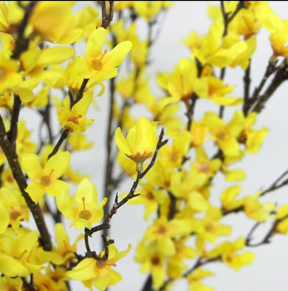 [協貿國際]單枝仿真花/黃色迎春花跳舞蘭大枝落地花家居樣板房絹花