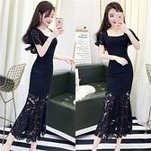 洋裝 小禮服 夏裝新款韓版女裝氣質名媛喇叭袖收腰包臀魚尾蕾絲長裙連身裙 韓風