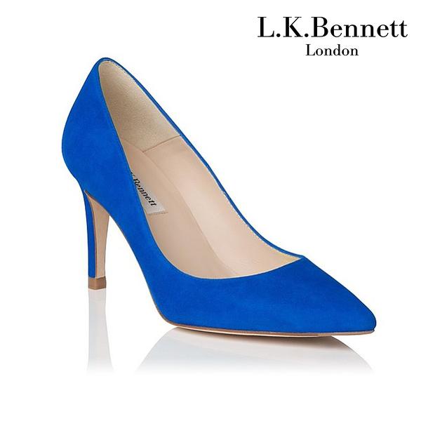 【L.K. BENNETT】凱特王妃 必搭鞋類 FLORET經典系列 麂皮尖頭高跟鞋-寶藍 (原廠公司貨)