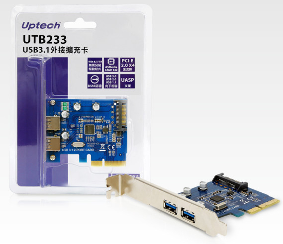 【中將3C】Uptech 登昌恆 UTB233 USB3.1外接擴充卡   .UTB-233
