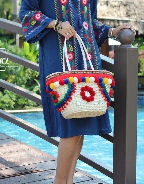 熱銷歐美 高級藤編包 民族風包包 刺繡包 編織包 學生書包 男女 電腦包 手提肩背包 草編包 斜背包