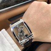 戴斯達2020新款酒桶型網紅手錶方形透明全鏤空飛輪機械男錶防水錶 雙11提前購