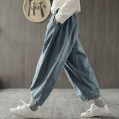 牛仔闊腿褲 純棉燈籠褲 復古牛仔休閒褲-夢想家-0210