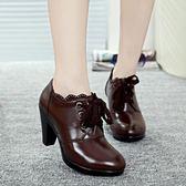 中跟鞋 粗跟皮鞋 新款加絨黑色粗跟工作鞋蕾絲系帶女鞋媽媽鞋子秋冬女鞋子《小師妹》sm2464