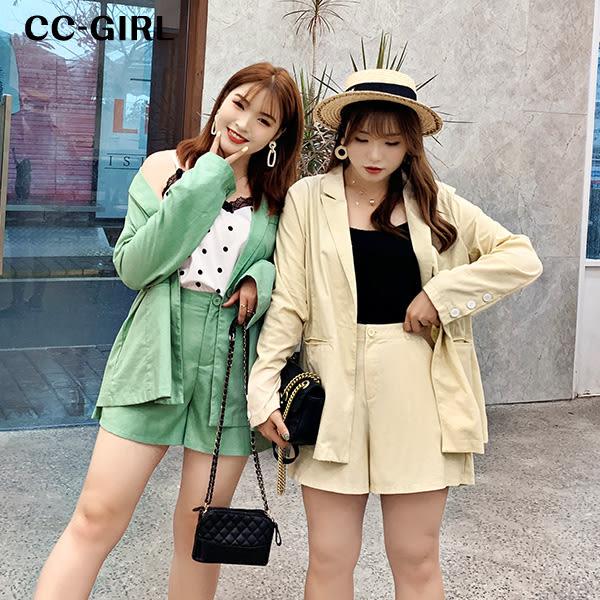 中大尺碼 薄款西裝外套~共兩色 - 適XL~4L《 68247 》CC-GIRL