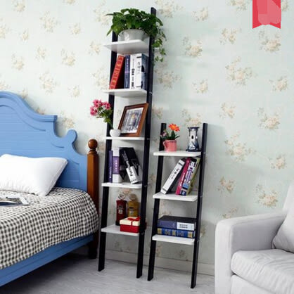 森鹿客廳梯形裝潢牆角置物架牆上落地簡易書架靠牆創意陽臺花架  5層