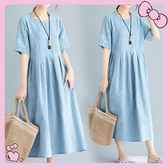 降價兩天 大尺碼連身裙 微胖女孩穿搭 民族風洋裝 洋氣減齡休閒短袖顯瘦