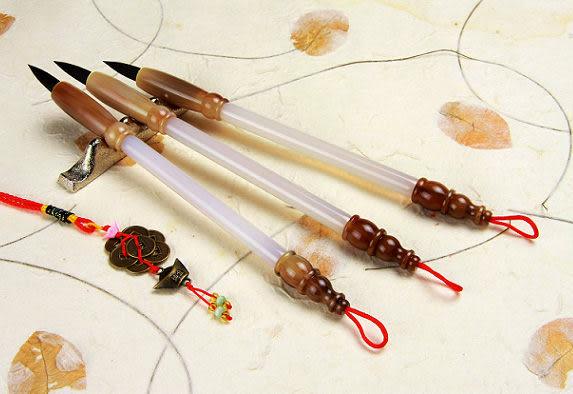 胎毛筆《傳家全手工精製 白瑪瑙鼎級玉石全手工胎毛筆(2支)》胎毛筆, 胎毛筆, 胎毛筆