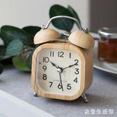 鬧鐘北歐學生床頭復古木質鐘簡約靜音夜光實木鐘打鈴迷你電子鐘 KB7603 【歐爸生活館】