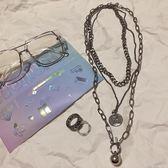 項鍊 飾品歐美男女嘻哈項鍊多層長款項鍊吊墜潮 moon衣櫥
