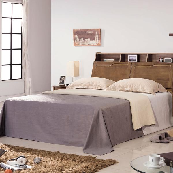 【采桔家居】 桑克 時尚6尺實木雙人加大床台組合(床頭箱+床底&不含床墊)