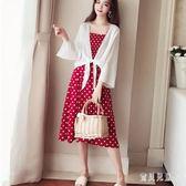 兩件式洋裝長裙女夏2018新款雪紡吊帶連身裙防曬開衫溫柔風仙女套裝裙zzy1407『寶貝兒童裝』