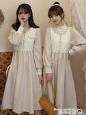 蕾絲洋裝 秋冬2021新款韓版拼接蕾絲假兩件收腰顯瘦A字連身裙V領桔梗短裙女 曼慕