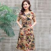 夏裝新款連身裙女中長款夏季中年媽媽裝碎花純棉棉綢裙子長裙      韓小姐