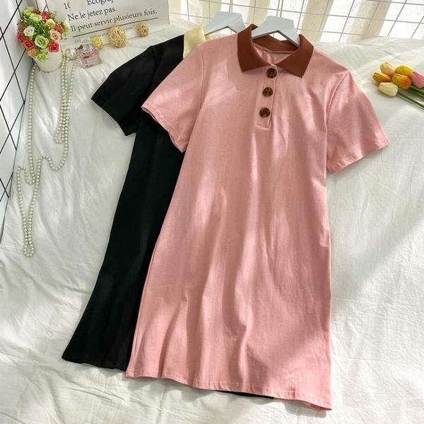 POLO領洋裝 小個子T恤裙女學生夏季2020新款韓版學院風復古POLO領短袖連衣裙 果果生活館