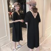 短袖洋裝 韓版中長款露背吊帶短袖T恤裙 V領大尺碼女裝夏季純棉寬鬆顯瘦洋裝