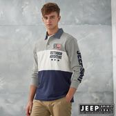 【JEEP】探險世界刺繡圖騰長袖POLO衫 (灰)