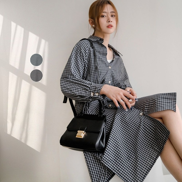 現貨-MIUSTAR 無印風!側開衩附綁帶小格子襯衫式洋裝(共2色)【NJ0373】