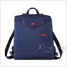 LONGCHAMP COLLECTION系列刺繡LOGO尼龍摺疊款手提後背包(深藍x紅)
