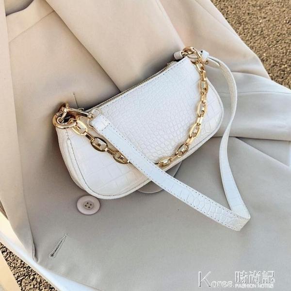 腋下包 今年流行包包小簡約法棍女百搭法式時尚2020新款潮小眾腋下包白色