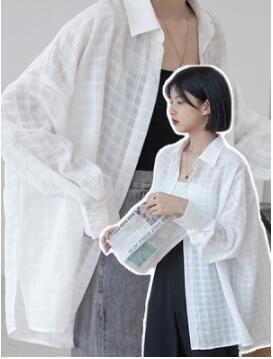 上衣 防曬 S-XL白色格子防曬襯衣女長袖超仙百搭薄款開衫防曬服外套5027 T1F-777-C 韓依紡