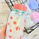 創意水果玻璃杯便攜可愛學生水杯女隨手杯男韓國帶蓋茶杯情侶杯子
