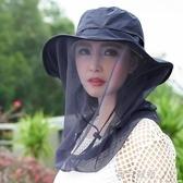 防蚊帽戶外面紗帽男女防紫外線臉紗帽釣魚防曬帽防蚊網紗帽遮臉  雲朵走走