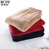 男冬季睡褲珊瑚絨保暖家居暖暖褲加厚加絨法蘭絨居家長褲寬鬆大碼 美芭