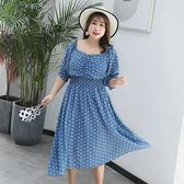 中大尺碼~時尚波點收腰短袖洋裝(XL~4XL)